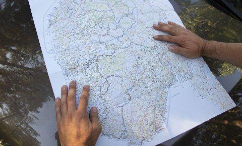 Kartet over de hemmelige turistveiene fremhever veier i naturskjønne områder.