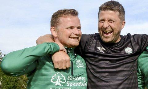 GLEDER SEG: Både Eidsberg-trener Lars Vikeby (t.v.) og Korsgård-trener Tor Anders Brenno er sikre på seier for sine respektive lag når lokaloppgjøret spilles lørdag ettermiddag.    ARKIVFOTO