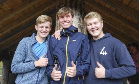 Glade medlemmer: f.v. Ivar Dybvik Hegland (17), Sondre Nybakken (16) og leder Erlend Hammersborg (17).