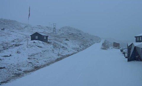 VINTER: I morgontimane fredag var det full vinter på Sognefjellet.