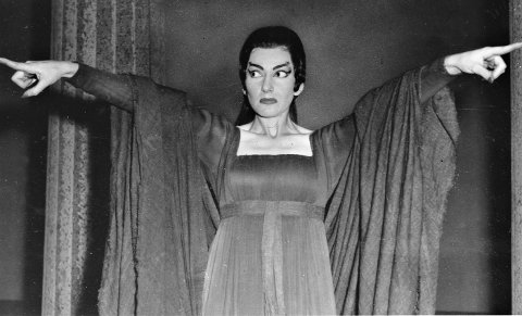 Opera singer Maria Callas is seen during a rehearsal of the three-act opera