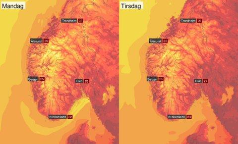 - Gode sommartemperaturer i starten av uka i #SørNorge, skriver Yr.no på Twitter.