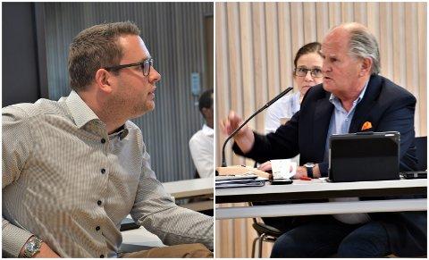 UENIGE: Anders Mathisen (Frp) og Pål Petter Syse (Ap) har ulik tilnærming til kommuneøkonomien og er uenige i hvordan den økonomiske situasjonen bør fremstilles.