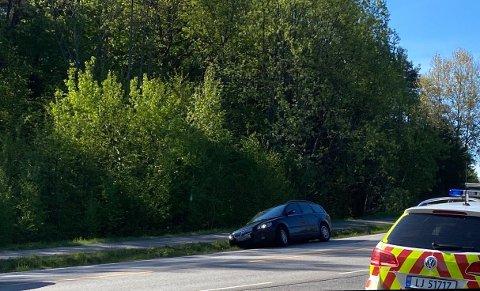 ULYKKE: Her kjørte bilisten ut av veien.