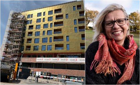 KJENT BYGG: Kremmerhuset ble oppført i 1971 og har ni etasjer. Tidligere var det kontorer her, nå er det leiligheter. Lene Lauritsen Kjølner reagerer på resultatet.