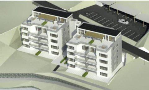 Moderne: Slik er de to leilighetsbyggene med totalt 16 boenheter utformet. Illustrasjon: Alpha Arkitekter AS