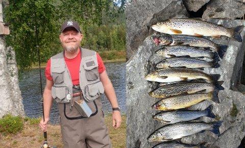 AKTIV FISKER: Lars Tore Siewert (47) er ivrig fisker i Begna og kan i år skimte med hele 40 års fartstid i elva. Ved siden av et eksempel på hvordan en fisketur kan ende for Begna-veteranen.