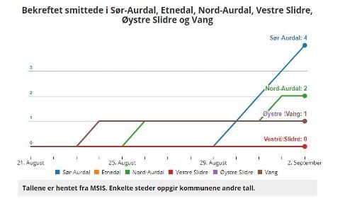 Bagn: Sør-Aurdal kommune fikk enda et nytt smittetilfelle torsdag 2. september og er oppe i fire tilfeller av koronasmitte de siste dagene.