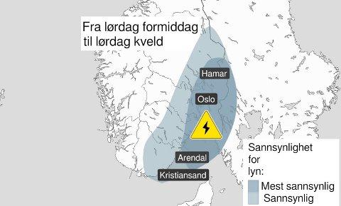 RUNDTOSLO:Kart som vise sannsynligheten for lyn lørdag.