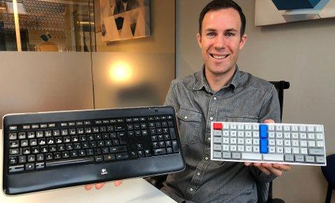 MINDRE OG BEDRE: Så lite er Tornado Keyboard sammenliknet med et tastatur som er standard på mange arbeidsplasser. - Men Tornado gir mindre helseplager og er mer effektivt i bruk, sier Edvin Syse.