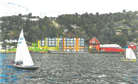 Sånn skisserer arkitekt Borge Bringsværd ved Drøbak Arkitektkontor AS og tiltakshaver Slåke Invest AS det planlagte byggeprosjektet på Gylte brygge.