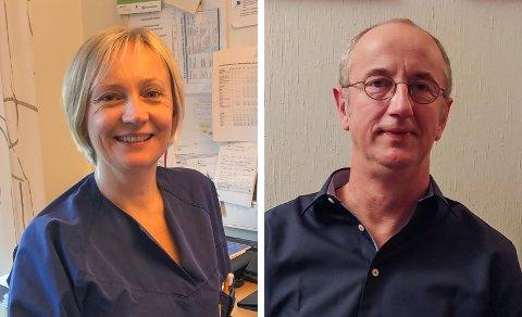 TILTAK: Enhetslederne Linda Frøyna Alfsen (t.v.) og Christoph Münch fra henholdsvis Risør og Gjerstad har en rekke tiltak på sine sykehjem for å stoppe koronasmitte. Skulle være ulykken være ute, har de forberedt seg.