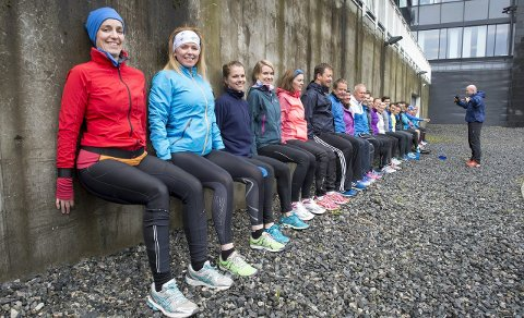 Treningsboom: Inger Johanne Øvrebø og Lisbeth Binner og resten av de ansatte i Fjordkraft i Bergen trener en gang i uken med en egen innleid instruktør. Det har vært en medvirkende årsak til at 85 ansatte har meldt seg på lørdagens Bergen City Marathon,FOTO: Eirik Hagesæter