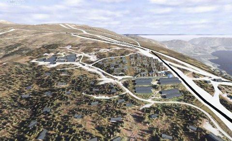 Planene: Dette er planforslaget som nå er sendt ut til formannskapet i Krødsherad. Modellen viser plassering av byggene i terrenget, samt størrelse, men ikke arkitektoniske detaljer.Illustrasjon: Structor