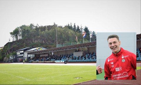 KLAR FOR HUSABØ: Den færøyske landslagsspilleren Patrik Johannesen har skrevet under for EIK. Det innfelte bildet ble tatt da spissen prøvespilte for Bryne i mai 2017. Han ble tilbudt kontrakt av jærklubben, men overgangen ble ikke noe av.