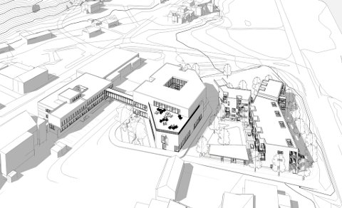 FRISKSENTERET: Slik har arkitektane teikna den tredelte utbygginga. Til venstre ligg det noverande kommunehuset, i midten ser vi nybygget, og til høgre den reine bustaddelen. Skisse: Nordplan AS.