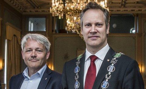 Møte i departementet: Bjørnar Laabak (Frp) og Jon-Ivar Nygård (Ap) kjemper for å beholde statlige arbeidsplasser i Fredrikstad. Mandag møtte de statssekretær  Jørgen Næsje (Frp) i Finansdepartementet.