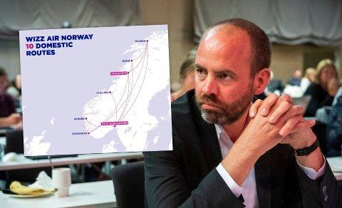 KRITISK: Ap-politikeren Arild Grande stusset da han så dette kartet. Han mener det er med på å vise at flyselskapet Wizz Air ikke forstår hvilket land de har kommet til.
