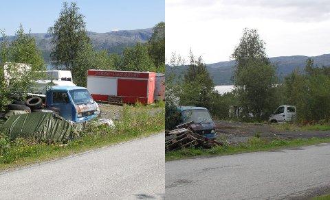 FØR OG ETTER: Bildet til venstre er knipset sommeren 2018. Bildet til høyre er knipset 23. august. Det gjenstår fortsatt noe, men store mengder skrot har blitt fjernet fra eiendommen.