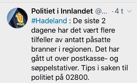 BRANN: Denne meldingen la Politiet i Innlandet ut på Twitter klokka 04.13 natt til lørdag.