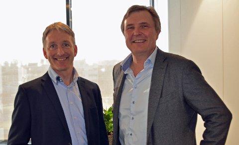 FØRNØYDE PARTNERE: Oddmund Kroken i Østfold Energi og Knut H. Johansen i NCE Smart er nye samarbeidspartnere.