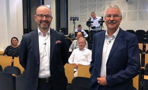 RESULTATPRESENTASJON: Finansdirektør Geir-Egil Bolstad og konsernsjef Richard Heiberg la fram resultatet for andre kvarta