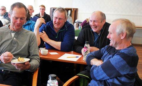 Arne Lindseth (f.v.), Knut Lied, Bjørn Løkås og Svein Olsen fra Leirfjord er melkebønder.