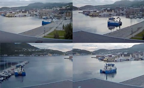 LØS: Videoen fra havna viser at båten på kort tid seilte rett inn i småbåthavna.