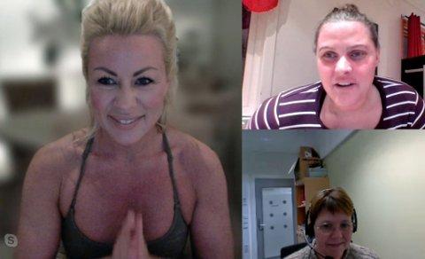 MØTTES: Personlig trener Lene Alexandra Øien (t.v.), Yngvild Ekeland (øverst t.h.) og Lene Johnsen Bergmo møttes onsdag på Skype for å snakke om ifinform