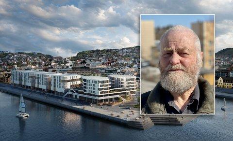 Viktor Sommerbakk liker dårlig utviklingen i Harstad med stadig flere høybygg rundt havna.