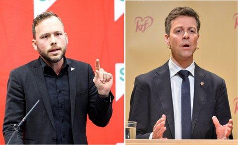 Audun Lysbakken (t.v.) og Knut Arild Hareide kjem til Kvinnherad. (Foto: NTB scanpix).