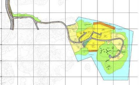 På denne skissen er gult felt boligtometer, mens grønt er friområde