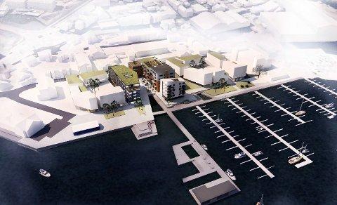 Fikk avslag: Teknisk utvalg sa nei til planene om et nytt kontorbygg ved siden av Persil bygget. Denne tegningen viser hvordan strøket kan bygges ut. Tidligere planer åpner for en båthavn.  Tegning: Østavind Arkitekter AS