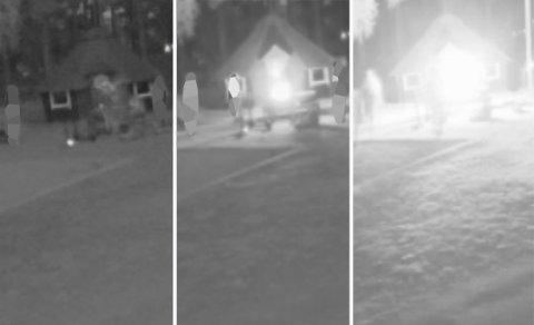 FLAMMER: Overvåkingskamera fanget opp at en gruppe unge personer tok seg inn i barnehagen. Deretter satt de fyr på noe på barnehagens område.