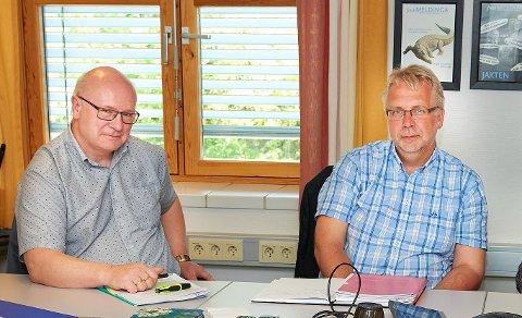 ENIGE OG UENIGE: Både Steinar Aspli (Sp) og Pål Sæther Eiden (H) beklager at Leka Taxi står i fare for å legge ned satsningen. Imidlertid er de to medlemmene i hovedutvalget for transport på fylkestinget uenige hvorfor situasjonen er blitt som den har blitt.