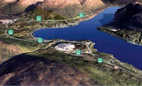 NYE E8: Den nye E8 i Ramfjord skal, i følge vegvesenet, legges på oversiden av Asko, og går i en lang sving ovenfor bebyggelsen i Nordbotn, før den føres inn i tunnel i Fagerfjell, omtrent midtveis mellom Fagerneskrysset og Sørbotn. (For bedre synbarhet er veilinjen merket med «Nye E8» av Nordlysredaksjonen)