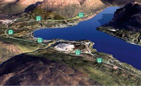 Her er den siste planen fra vegvesenet for nye E8 gjennom Ramfjord - en vei langs østre trase.