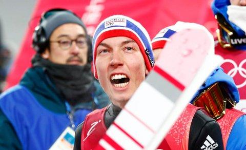 I KNALLFORM: Johann André Forfang ble nummer to i kvalifiseringen i OL fredag. Lørdag er det renn i storbakken i Sør-Korea, der tromsøgutten må finne seg i å være en av favorittene.