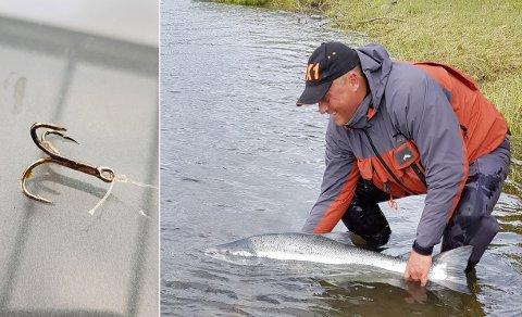 PÅ KROKEN: I kjeften på storlaksen fant Stig Jøran Skogeng ytterligere en trippekrok.