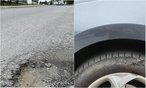 HULL: Slik så veien og dekket ut etter at Tromsøbeboeren kjørte der tidligere i sommer.
