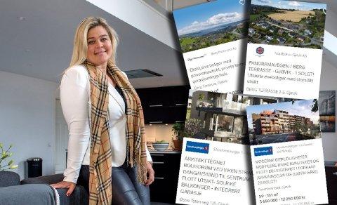 DRUKNER: Daglig leder i Aktiv eiendomsmegling på Gjøvik, Henriette Stray Fischer, mener vanlige bruktboliger står i fare for å drukne blant de store leilighetsprosjektene.