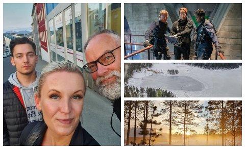 STORINNSPILLING: Hege Kolkinn sammen med Per Henry Borch som var linjeprodusent, og sin sønn Sander Kokinn, som var sjåfør på Bond-innspillingen. Nå er hun invitert til premiere i London.