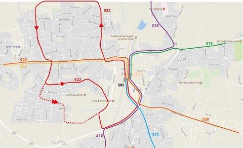 LITT LENGER: Rute 522 kjører i dag ikke til Finstad Hageby. Med en liten ruteendring kan det bli en realitet i 2018.