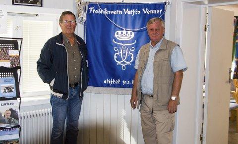 Jubileum: Kjell R. Bugge og Trygve Bruun i Fredriksvern Verfts Venner ser fram til fredagens jubileumsmarkering.foto: roger w. sørdahl