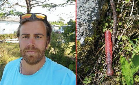 NYTT FUNN: Jon Reppesgård er andremann på kort tid til å finne en av de mystiske, rødfargede gjenstandene i Larvik.