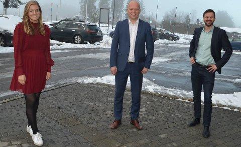 TRE PÅ TOPP: Trygve Slagsvold Vedum, Emilie Enger Mehl og Per Martin Sandtrøen topper Sp-lista i Hedmark.