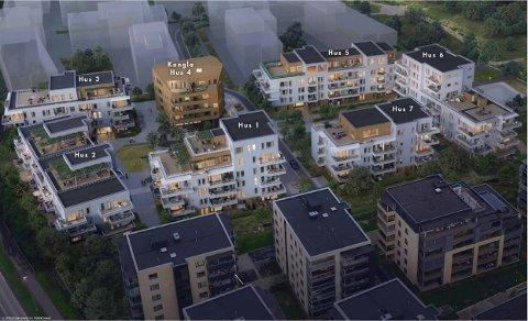 FØRST UT: De to første (hus 1 og hus 2) av totalt sju blokker i området som har fått navnet Løkkatunet er nå lagt ut for salg. Ill.: HRTB Arkitekter/Selvaag/Grindaker