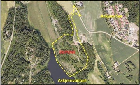 MASSEDEPONI: Det aktuelle området ligger nordøst for Askjemvannet i Andebu. (Illustrasjon: Rambøll)