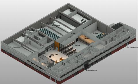 SKISSE: Slik kan Torghuset komme til å se ut innvendig etter planlagt oppgradering. Illustrasjon: Strand kommune/Arkipartner