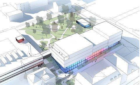 MULIG I KULTURKVARTALET: Slik kan Ibsenbiblioteket bli i Kulturkvartalet. Skistredet endres da med trapper og Lundeparken blir en viktig del av prosjektet. SKISSE: ARKITEMA ARCHITECTS